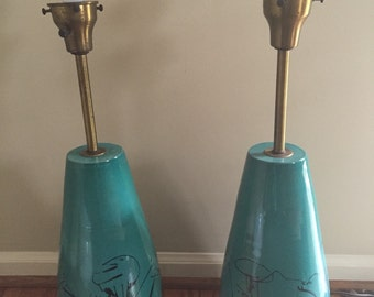 Pair of Raymor turquoise lamps
