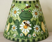 Frog Night Light - Frogs, Bees and Daisies, Hand Painted Folk Art, Honey Bees, Original Design, Nursery kids room nightlight