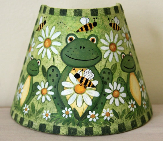 Spring Folk Art Night Light - MADE TO ORDER - Frogs, Bees and Daisies, Honey Bees, Original Design, Nursery kids room nightlight