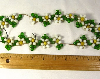 Vintage Beads Heavy Glass Beads Shaped into Flowers 1970s