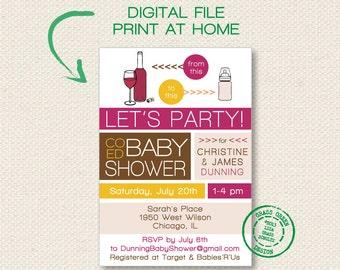 PRINTABLE - Co Ed Baby Shower Wine To Baby Bottle Invitation - DIGITAL FILE