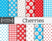 Cherry Digital Paper Pack, Cherries Digital Scrapbook Paper, Summer Fruit Background, Retro, Kitsch, Instant Download, Commercial Use