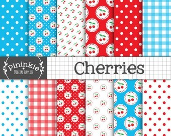 Cherry Digital Paper Pack, Cherries Digital Scrapbook Paper, Summer Fruit Background, Retro, Kitsch, Instant Download, Commercial Use