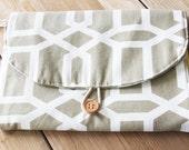 Diaper Changing Pad - travel clutch - Tan Large Hexagon