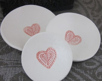 3 Pink Heart Stacking Nesting Trinket Bowls