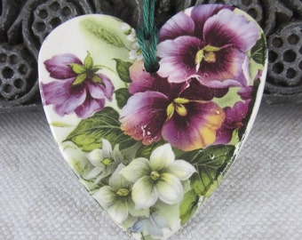 Large Purple Pansy Floral Ceramic Heart Ornament