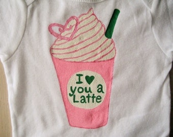 Starbucks  Frappuccino Onesie,I Love you a Latte,Strawberries N Cream or Cotton Candy  Frappuccino, Baby Girl Shower Gift, Starbucks Lovers