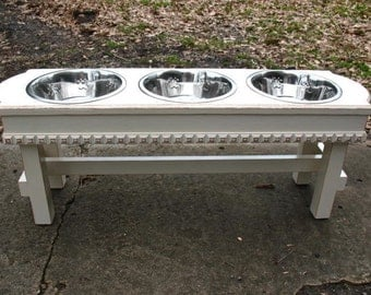 Large Antique White Dog Bowl Pet Feeder,  3 Two Quart Stainless Bowls, Cottage Chic Elevated Pet Feeder - Made to Order