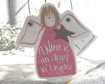 Niece Gift Angel Hanging Salt Dough Ornament