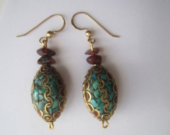 Goldplated Turquoise Earrings ./. Oriental Style Earrings ./. Boucles d'Oreille ./. Turquoise and Carneol colors ./. Oriental Ornament