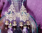 Amethyst chandelier earrings, Bohemian gypsy Silver filigree chandelier earrings with amethyst, gray and champagne crystal and purple glass