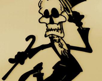 Dancing, Skeleton, Macabre, Metal Art, Skull,Top Hat,Cane, Wall Decor
