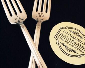 I DO ME TOO Hand Stamped Vintage Wedding Cake Fork Set Hand Stamped  Silverplate Shower Gift Cake Tasting Photo Prop