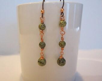 Russian Serpentine Dangle Earrings