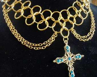 Handmade Chainmaille Turquoise Cross Necklace