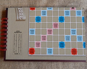 Recycled Scrabble guest book, notebook or scrapbook, large sized board game book with card stock pages