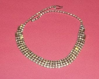 True Vintage Signed Weiss Silver Tone Rhinestone Necklace Wedding