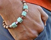 Men's Bracelet with Pistachio Lava Cubes, Brown Shells, Copper Cubes, Nude and Pistachio Recycled Glass - High Fashion Man Bracelet