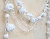 Wool and Beaded Snowball Pom-Pom Holiday crochet Garland, wedding, christmas, wonderland