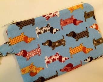 Blue or Red Calico Dachshunds Wiener Dogs Hot Dogs Small Zippered Pouch, Wallet, Stocking Stuffer