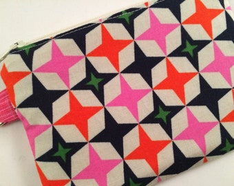 Pink, Orange and Navy Blue Geometric Design Small Zippered Pouch, Coin Purse, Wallet, Notions Case, Stocking Stuffer