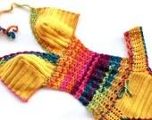 Rainbow Crochet Monokini Women Swimwear Swimsuit Crochet Bikini Boho Bikini Festival Clothing Mustard Yellow Bohemian senoaccessory