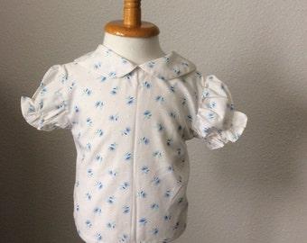 Vintage Little Girls Shirt Top Blouse Peter Pan Color 18 months
