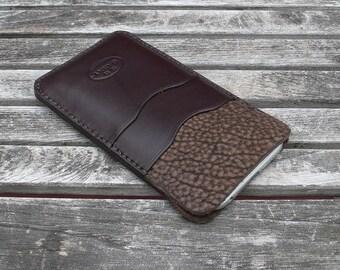 iPhone 7 & 6 - Leather case, Garny No.24 - Dark Brown Bison - iPhone wallet / leather sleeve / leather case