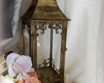 """Weathered Gold-20"""" tall Lantern, Hanging w/ Glass inserts.Vintage,Aged Decor,Garden Art,Wedding Centerpiece,Candle Holder,Cottage home,Chic"""