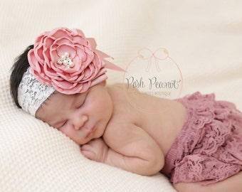 dusty pink headband, dusty rose baby headband, lace baby headband, girls headband, newborn headband, blush girls headband, toddler headband