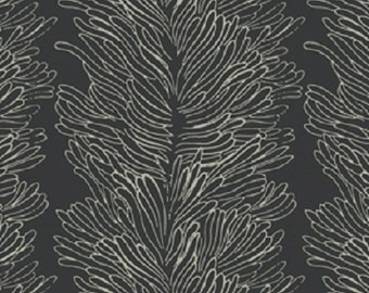 "Fabric 1 Yard Home Decorating Curious Nature CORAL REEF Black David Butler 54"" WIDE"
