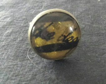 SALE was 12uk now 9uk - Kate Bush Inspired BTD Confetti and black feather glass caberchon bronze tone adjustable ring
