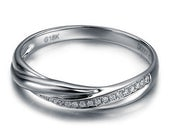 Twisted Wedding Ring Art Deco Diamond Wedding Band Vintage Style 14k White Gold Anniversary Ring