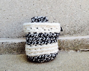 BLACK.WHITE crocheted rock climbing chalk bag.