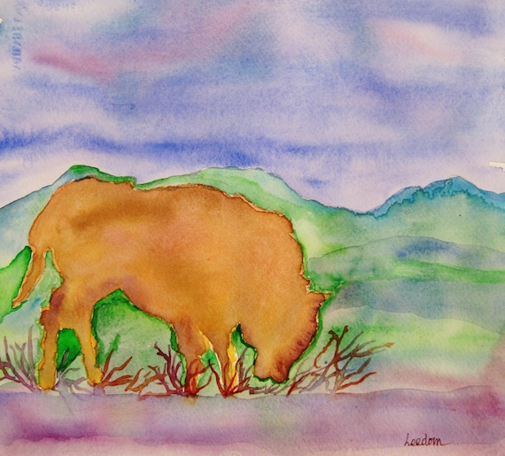 Buffalo watercolor painting, Buffalo, Original watercolor Painting