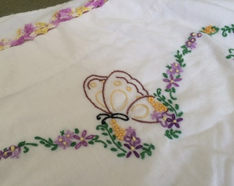 Embroidered Pillowcase with Butterfly