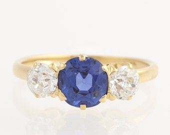 Art Deco Engagement Ring - Sapphire & Diamond Three Stone Ring 18k Yellow Gold 2.16ctw L935 R