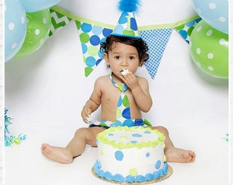 Baby Boy Toddler Birthday Outfit with hat necktie and diaper cover in turquoise blue and lime green dots
