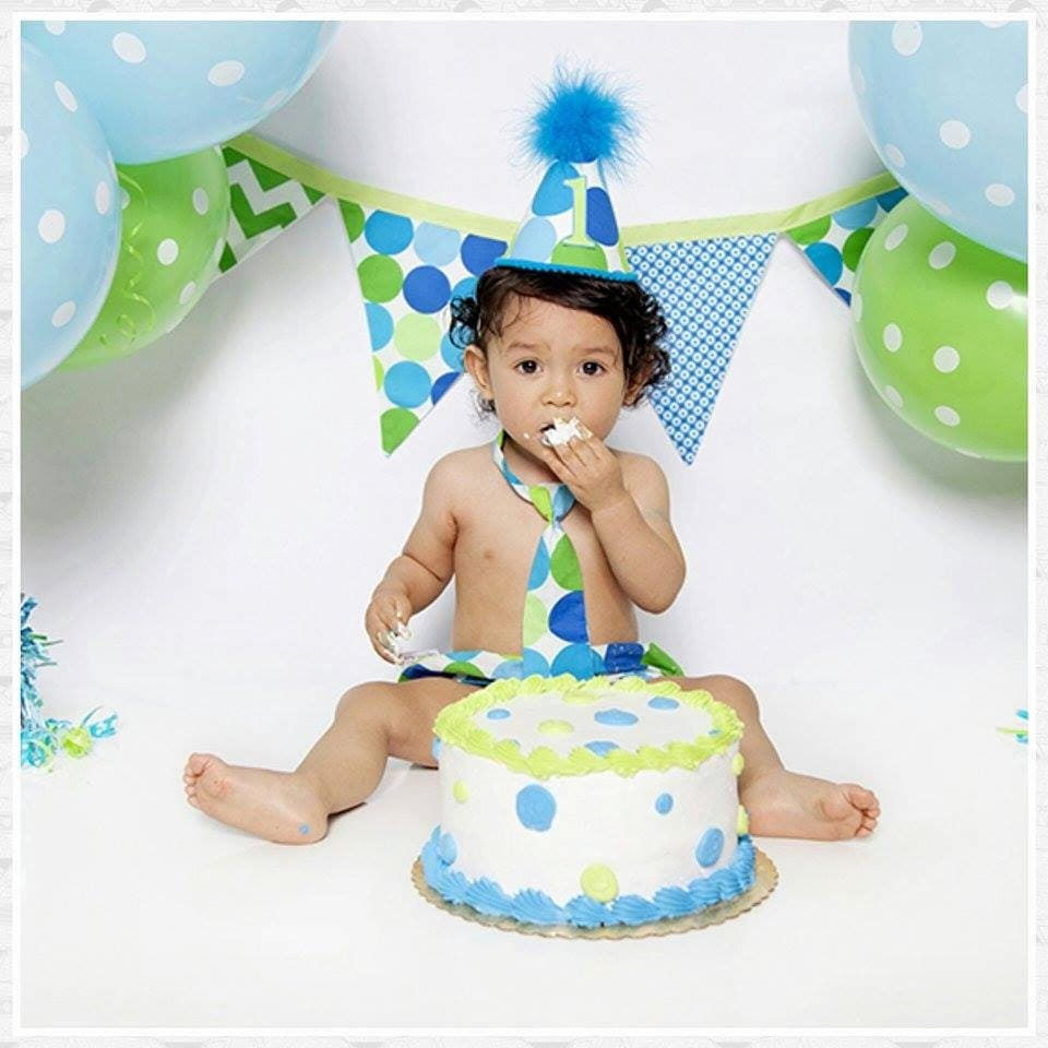 Baby Boy Toddler First Birthday Cake Smash Diaper Cover Tie And Party Hat Outfit In Turquoise Lime Dot