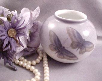 1950s Royal Copenhagen Butterfly Porcelain Vase, Spiderweb and Dogwood Flowers Vintage Danish Art, Mid Century Collectible Home Decor