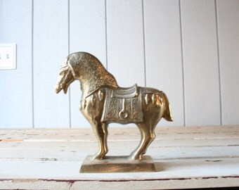 Vintage Large Brass Ming Style Horse // Solid Brass