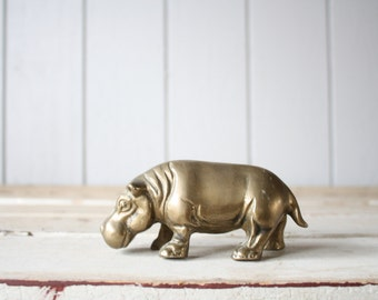 Vintage Brass Hippopotamus // Solid Brass