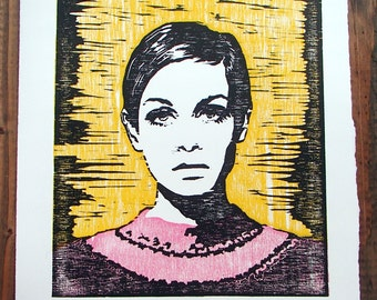 Twiggy Wood Block Hand Pulled Print Limited Edition