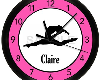 "Gymnastics Pink Wall Clock 10"" Diameter"