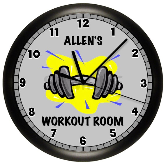 personalized dumbbell fitness 10 inch wall clock
