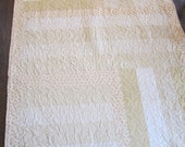 Gold and Cream Handmade Strip Quilt