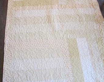 Gold and Cream Handmade Strip Quilt
