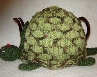 """Hand Knit Tea Cozy  """"Toby the Turtle"""""""