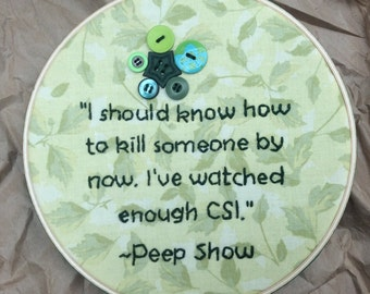 Peep Show Green Embroidery