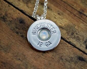 Shotgun Shell Jewelry Casing Opal Swarovski Gem Pendant Necklace